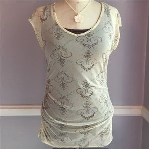 Tops - Cream sheer printed mesh top with gathered sides S